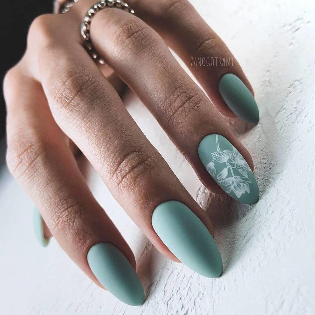 мятный цвет ногтей оливковый маникюр
