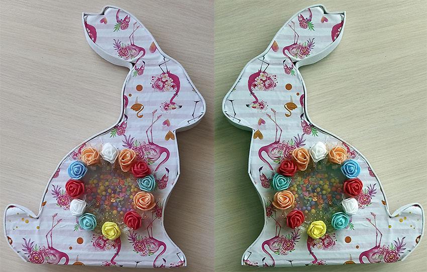 пасхальный кролик своими руками из картона и декоративных элементов