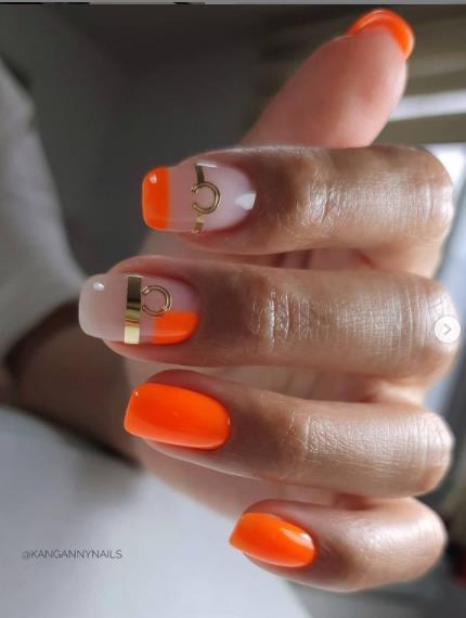 оранжевый микс на ногтях фото для лета
