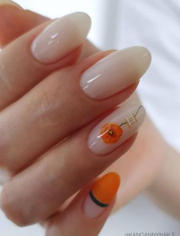 оранжевый цветочек для декора ногтей