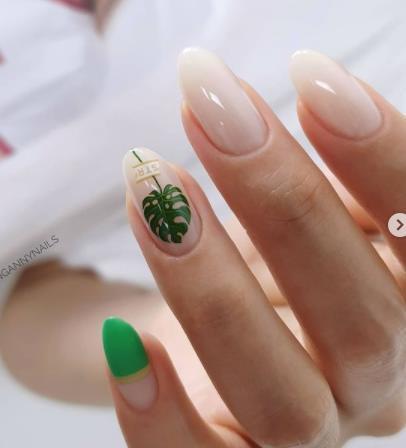 красивые идеи ногтей с листьями прозрачная текстура ногтей