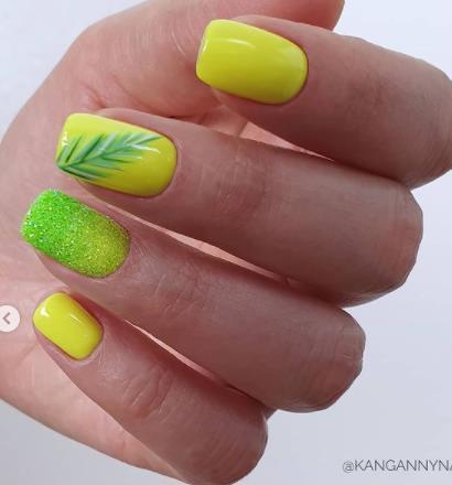 лимонный и салатовый цвет ногтей молодежные варианты оформления ногтей