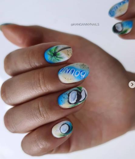 морская тематика ногти дизайн лето 2022