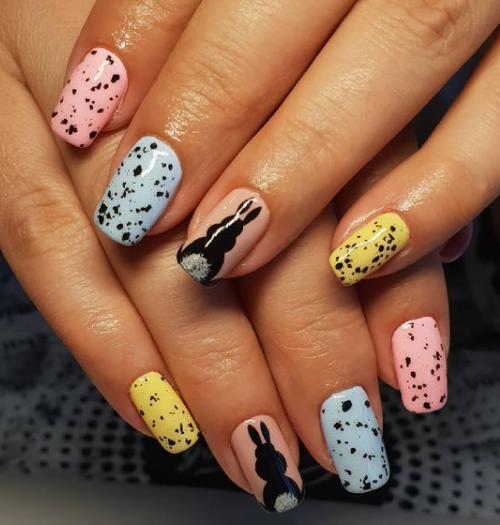 зайчики на ногтях крапинка перепелиный дизайн яркие оттенки ногтей
