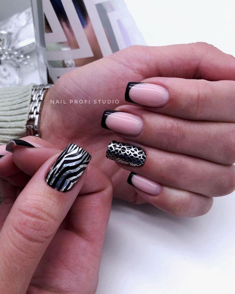 хищный принт для ногтей зебра френч